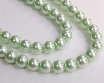 Mint green glass pearl beads round 10mm full strand 7786GB