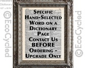 Specific Dictionary Word Upgrade Hand Selected Page Vintage Upcycled Dictionary Art Print Book Art Print Personalized Customized