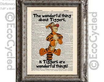 The Wonderful Thing About Tiggers Bouncy Fun on Vintage Upcycled Dictionary Art Print Book Print Adventure Winnie the Pooh book lover gift