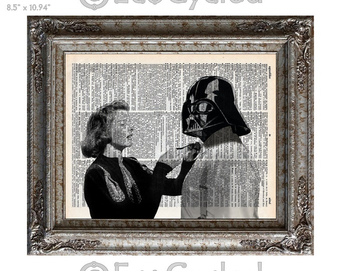 Katherine Hepburn with Darth Vader on Vintage Upcycled Dictionary Art Print Book Art Print Repurposed Recycled Star Wars bookworm gift