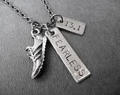 RUN Fearless Distance - 5k, 10k, 13.1, 26.2 or XC - Run Necklace on Gunmetal chain - Fearless Runner -Cross Country - XC - Fearless Marathon