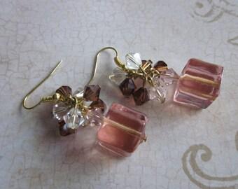 Neopolitan Venetian Glass Dangle Earrings