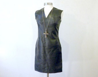 Black Faux Leather Dress / Vegan Leather / Pleather Black Mini Dress / 1980s Dress / Medium