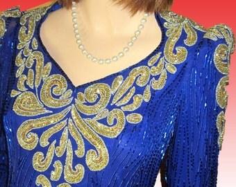Vntg J REYNOLDS of Atlanta Original Hand-Beaded Sequin Gown UNWORN Silk Sapphire Bust 34