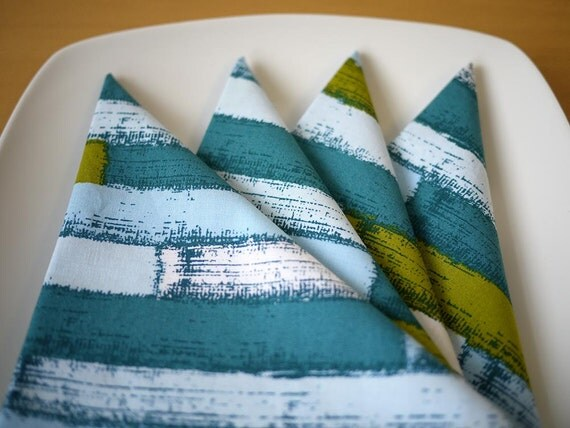 Strata Print Cloth Dinner Napkins in Blue from my Mineral Forest Collection of Fabrics