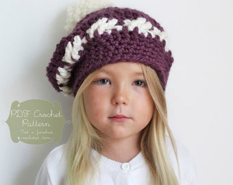 Crochet PATTERN: The Barret Tam-Toddler, Child & Adult Sizes-chunky, beret, pom pom, fall, winter, vintage