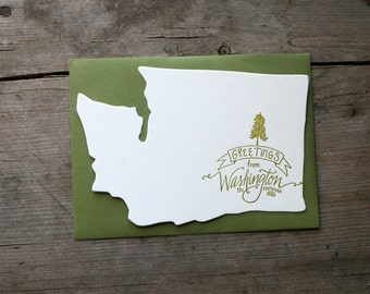 Washington-Shaped, Greetings from Washington Letterpress Card