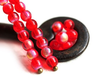 4mm Round Red czech beads, Scarlet Red with luster, glass spacers, druk - 4mm - approx.80Pc - 1303
