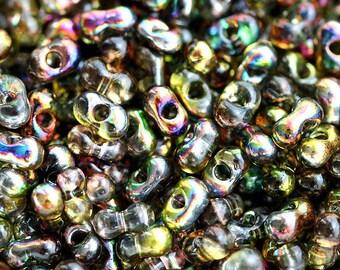 Farfalle seed beads, czech glass, 2x4mm - Yellow Green rainbow finish - peanut, glass beads - 10gr - 1407