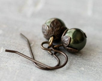 Green Pearl Earrings: Dark Swarovski Crystalized Element Drops with Antiqued Brass, Bridesmaid Earrings, Autumn Jewelry, Simple Jewelry