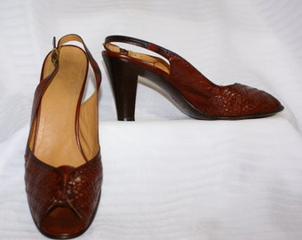 Vtg Size 7AA  Bruno Magli Rust Leather Slingback Shoes