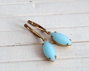 Powder Blue Earrings .. blue glass earrings, blue dangle earrings, bridal earrings, soft blue earrings, light blue earrings