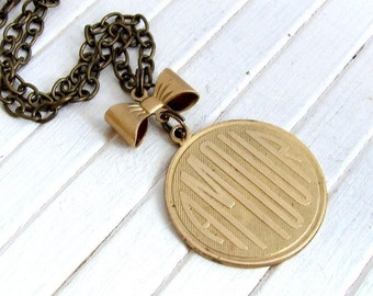 Brass Amour Necklace .. love necklace, romantic jewellery, French necklace, coin necklace