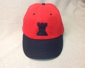 Rook felt logo on custom made soft red wool ballcap, leather sweatband, any size available.