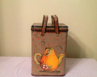 Tea Storage Tin. UpCycled Vintage Tin. Kitchen Decor. Country Kitchen. Decorated Storage Tin. Housewarming  Gift Home Decor Fruit Tin.
