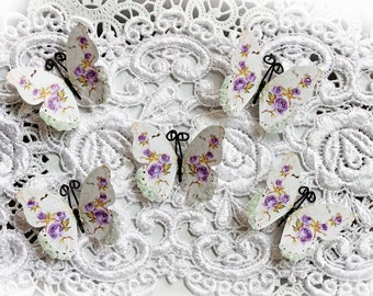 Reneabouquets Tiny Treasures Butterfly Set Shabby Lavender Roses Glitter Glass Butterflies Scrapbook Embellishment, Home Decor, , Wedding