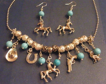 Western Charm, Jewelry Set! Turquoise, Horse, Wolf, Gun, Cowboy Hat, Horse Shoe! OOAK! Country Girl Gift, Birthday Gift, Holiday Gift