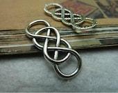 "15 pcs 12x33mm antique silver twisted double Infinity symbols letters numbers "" 8 "" shape connectors links charms pendants fc99546"