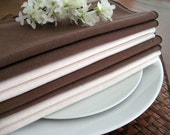 "8 Vintage Dinner Napkins, Solid Colors, Brown and Ivory, Mix and Match Set. 16.5"" x 16"""