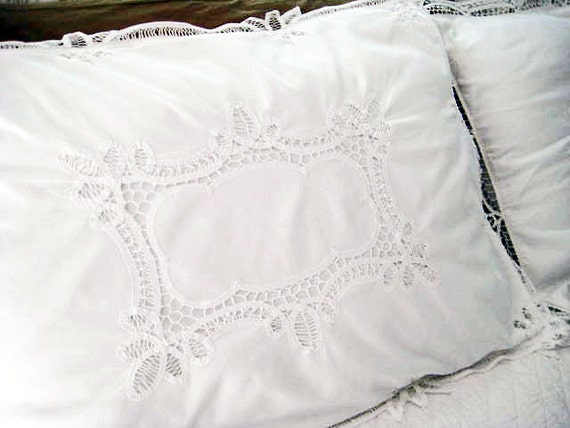 2 Vintage Pillow Shams Battenburg Lace White Cotton