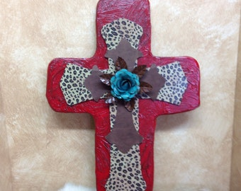 Rustic red wall cross