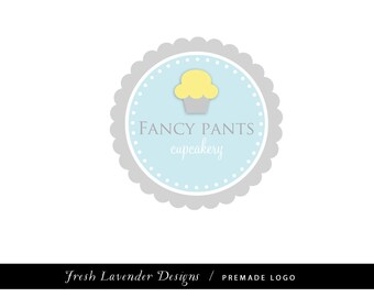 Premade Logo Design for Photographers and Small Crafty Boutiques Aqua and CoralFrame Cupcake