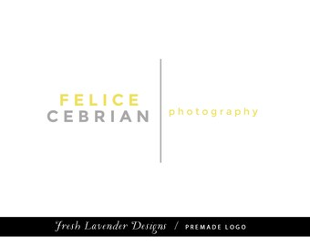 Premade Logo Design for Photographers and Small Businesses Mustard and Grey Text Only Logo Masculine Classic