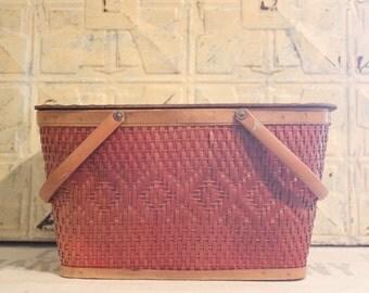 Vintage Red Man Quality Red Weave Picnic Basket