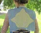 Boho Vest, Cropped denim vest, embroidered denim Rustic vest, M/L, 2 piece set, tattered rustic blue, upcycled denim vest, Bag is included