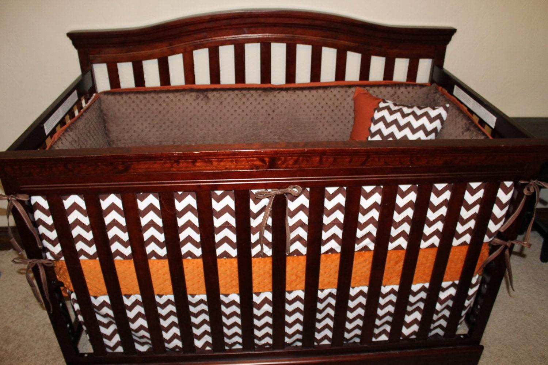 Brown and orange bedding -  Brown Chevron And Burnt Orange Crib Bedding Ensemble Zoom