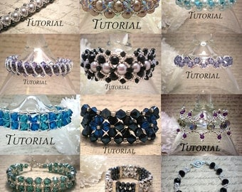 DIY Bundle of 23 PDF Tutorials: Right Angle Weave Bracelets, Pendants and Rings, Save 50% Instant Download