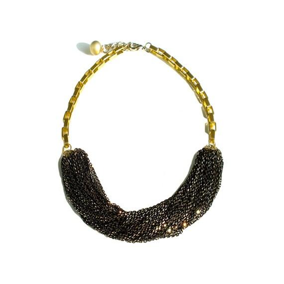 Multi Strand Chic Statement Chain Necklace - Black