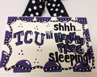 TCU Horned Frogs Texas Christian  University Baby Sleeping Sign, shower gift Hand painted