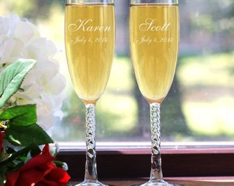 SALE!  Personalized Couples Wedding Champagne Toasting Flutes Set of 2 Engraved