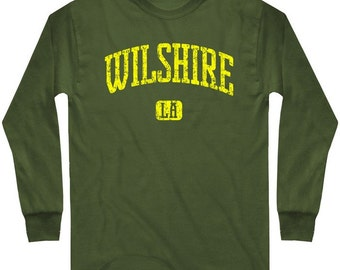 LS Wilshire LA T-shirt - Long Sleeve Los Angeles Tee - Men and Kids - S M L XL 2x 3x 4x - 4 Colors
