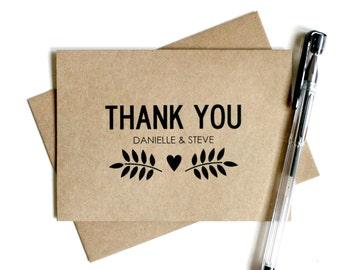 Custom Wedding Thank You Cards (Set of 25) - Thank You Card Set, Wedding Thank You Cards, Rustic, Vintage Inspired, Kraft Thank You