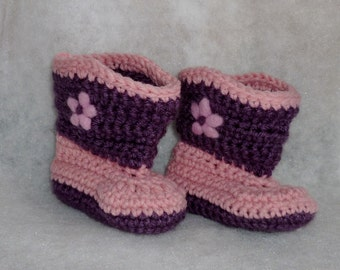 Baby Girl Boot Scootin Booties Crocheted Pink Purple with needle felt flower
