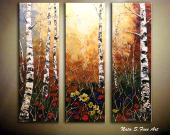 """Oversize Home Decor.Birch Tree Painting.Abstract Acrylic Textured Painting.Triptych.Fall Painting.Autumn.Wall Hanging 36"""" x 36"""" - by Nata S."""