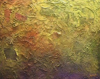 "Oversize ABSTRACT Painting.ORIGINAL Modern Heavy Textured Painting.Purple,Yellow,Rust...Wall Hanging.Large Wall Decor 30"" x 36"" - by Nata S."