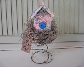 Bird House Old Quilt in Old Bed Spring Grungy Tag White Blue Red Pink Lavender Vintage Blue Button
