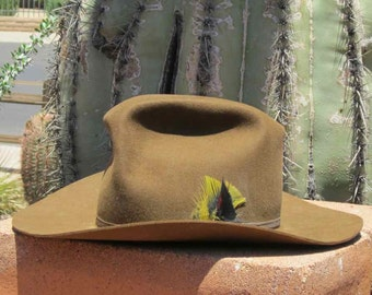 Brown Bailey Cowboy Hat With Yellow and Black Feathers in Ribbon Hatband