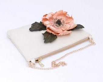 Ivory leather clutch with salmon poppy art.246