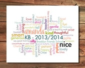 Teacher gift from class - Custom Word Cloud Poster Design - Archival Quality Print