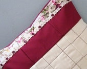 Burgandy, cream and floral padded patchwork  cushion cover,pillow sham,throw pillow cover.Envelope style.16x16 inches