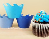 24 Wave Cupcake Wrappers - Six Shades of Blue (Cardstock) (Summer, Spring, Party, Theme, Water, Pool, Shark, Fish, Whale, Dolphin, Frozen)