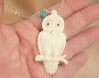 Sale - Owl Buffalo Bone or Owl Necklace,  Hand Carved Owl, Wise Owl Necklace