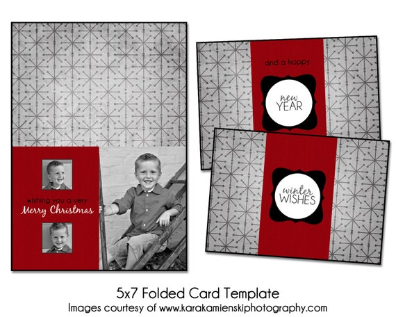 Christmas Card Template - FROSTY WISHES - 5x7 Folded Card Template