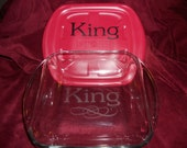 "Personalized etched 8""x8"" baking dish & red lid with name and flourish"