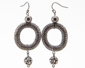 Boho Hoops, Woven Metalwork Earrings, Black Mesh Earrings, Disco Ball Jewelry, Recycled Bead Earring, Charcoal Gray Hoop, One of a Kind