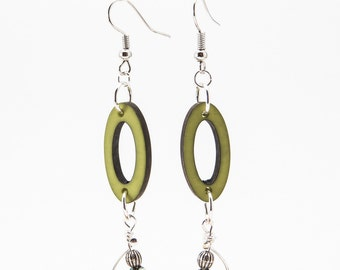 Recycled Bead Earrings, Recycled Fashion Jewelry, Green and Silver Dangles, Light Weight Jewelry, Oval Hoops, Eco Friendly Jewelry, Cute